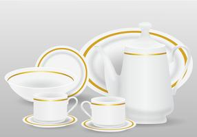 Realistic White Ceramic Kitchenware  vector