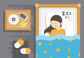 Overhead Bedtime Vector Illustration