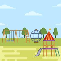 Flat Kids Playhouse Vector Illustration