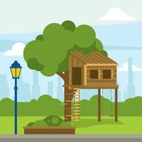 Tree House Gratis Vector