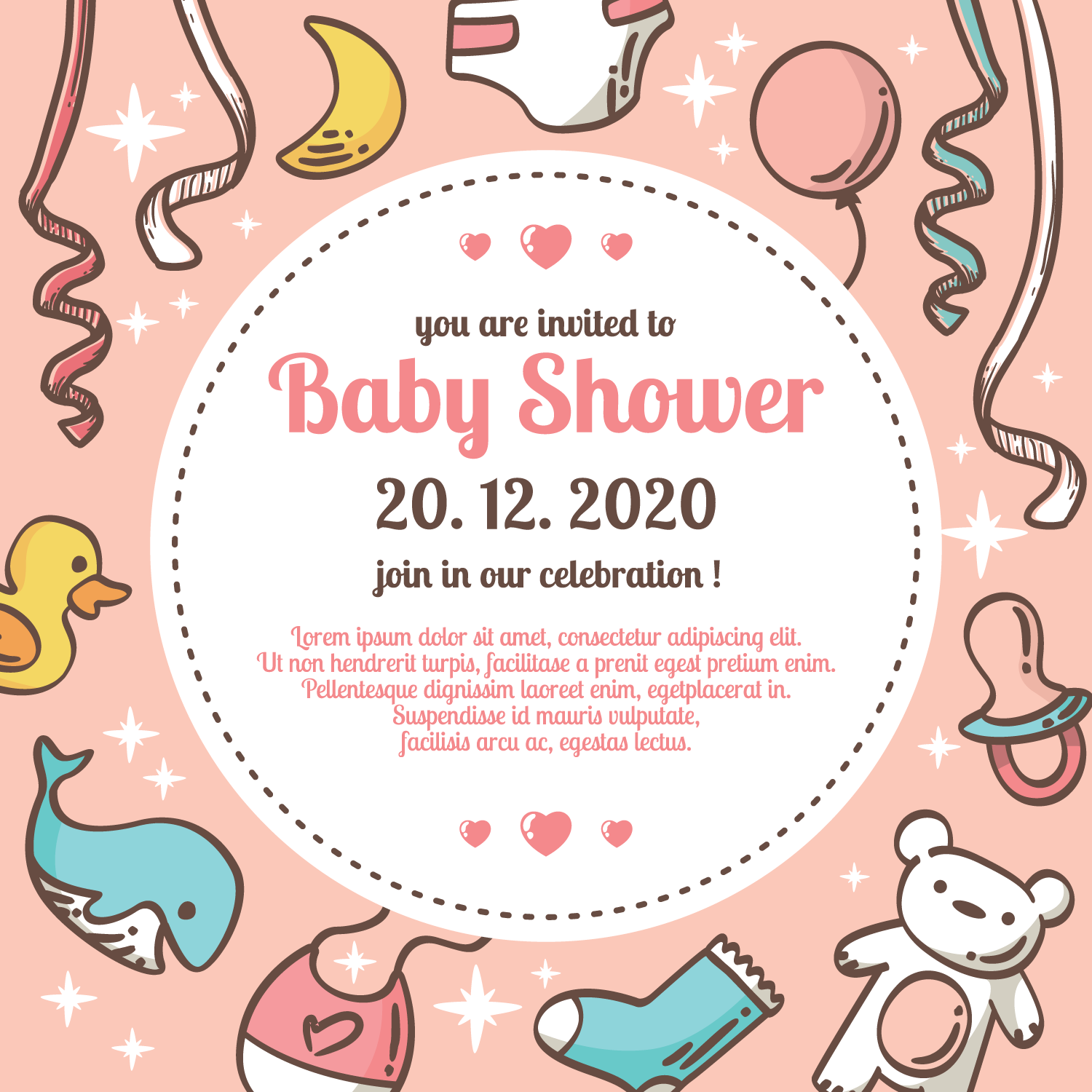 Babyshower Vector Illustration   Download Free Vector Art, Stock Graphics U0026  Images
