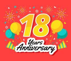 Vector de aniversario de 18 años