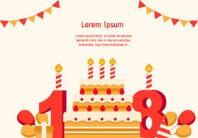 18th Year Birthday Background vector