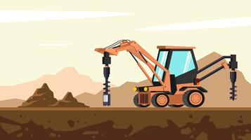 Tractor Backhoe Earth Auger System Free Vector