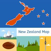 Platte Nieuw-Zeeland kaart Vector