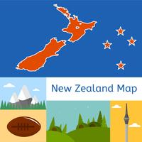 vetor plano do mapa da Nova Zelândia