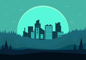 Frihanddragen Vector Nightscape Illustration