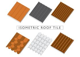 Isometric Roof Tile Set Vector