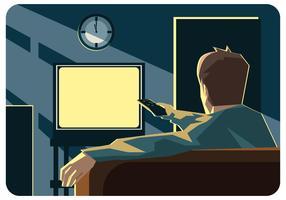 Viendo la televisión con el vector remoto