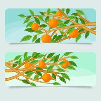 Gratis Peach Tree Banner Vector