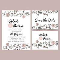 Convite floral desenhado mão do casamento da mão do vetor