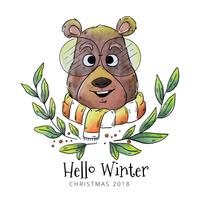 Hello Winter Bear Vector