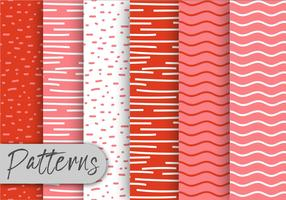 Conjunto de padrões desenhados à mão vermelha