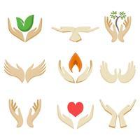 Vector de logotipo de plantilla de manos de caridad gratis