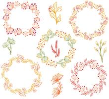 Free Autumn Wreaths Flowers Vectors
