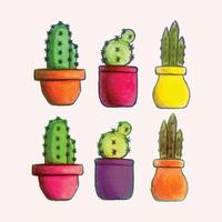 conjunto de cactus dibujados a mano de vector