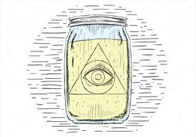 Free Hand Drawn Vector Eye In Jar