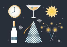 Éléments gratuits de nouvel an Design plat Vector
