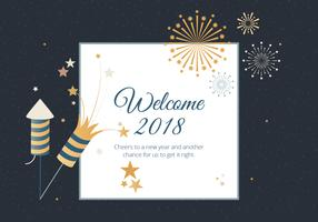 Free Flat Design Vector New Year Greeting