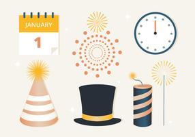 Gratis platte ontwerp Vector Nieuwjaar elementen