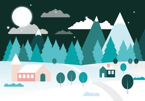 Free Flat Design Vector Winter Landscape