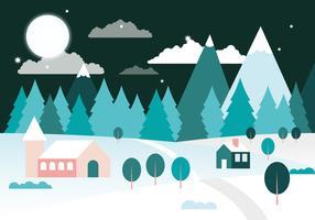 Diseño plano gratis Vector paisaje de invierno