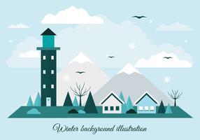 Kostenlose Wohnung Design Vector Winterlandschaft