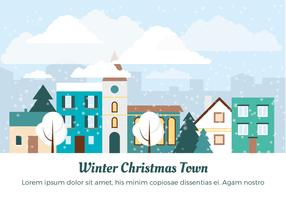 Gratis Flat Design Vector Winter Christmas Town