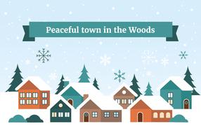 Free Flat Design Vector Winter Christmas Town