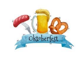 Acuarela cerveza, salchichas y Bretzel para Oktoberfest