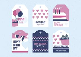 Vector Birthday Labels Set