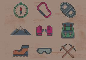 Climbing Equipment Icons vector