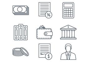 Bookkeeping Line Icons vector