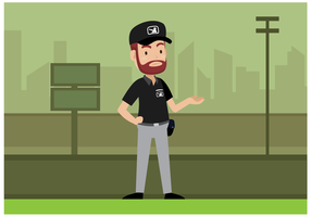 Vettore del carattere dell'arbitro di baseball