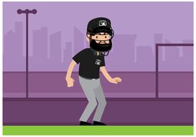 Vecteur de personnage gratuit arbitre de baseball