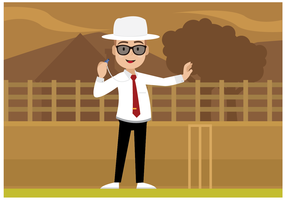 Cricket Umpire Character Vector