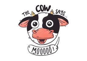 Linda cabeza de vaca de granja con cita de granja