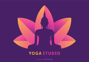 Buddah Silhouette Sitting On Lotus Flower Vector