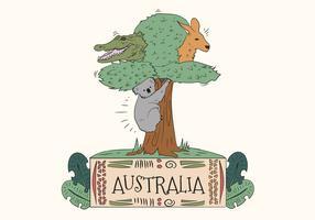 Animales salvajes lindos australianos en vector de árbol