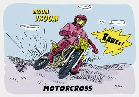 Ridning Offroad Motorcross Comic Hand Drawn Vector Illustration
