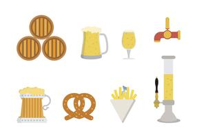 vectores de cerveza plana