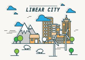 Fundo de vetor de paisagem urbana linear designado de energia verde