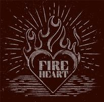 Vektor Hand Drawn Flaming Heart
