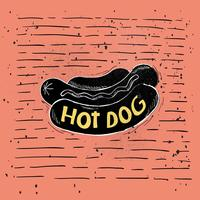 Mano dibujada Vector Hot-Dog Illustration