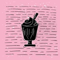 Handdragen Vector Ice Cream Illustration