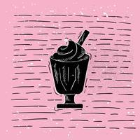 Hand gezeichnete Vektor-Eiscreme-Illustration