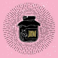 Handdragen Vector Jam Jar Illustration