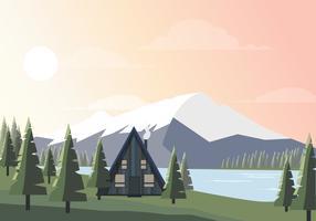 Ilustración hermosa del paisaje del vector