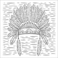 Handdragen Vector Indian Hat Illustration