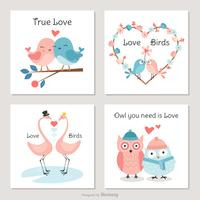 Cute Birds In Love Vector Cards